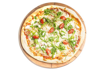 vegetarian pizza with tomatoes, arugola and gorgonzola cheese on white background