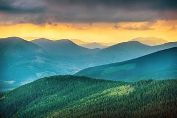 Wall Murals Mountains Sunset over blue mountains
