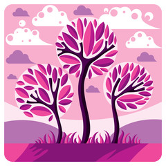 Art vector graphic illustration of stylized branchy tree