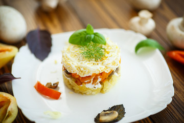 layered salad with mushrooms and vegetables