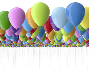 colorfull balloons isolated on white
