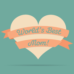 Mother's Day heart with ribbon card in vector format.