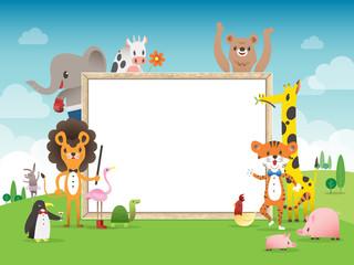Animal cartoon frame border template with whiteboard