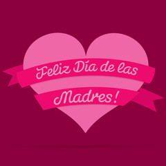 Spanish Mother's Day heart with ribbon card in vector format.