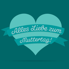 German Mother's Day heart with ribbon card in vector format.