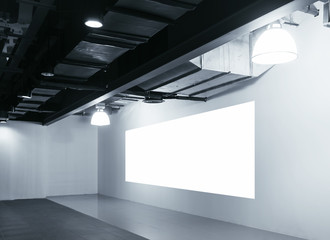 Mock up blank Screen display on wall Exhibition interior