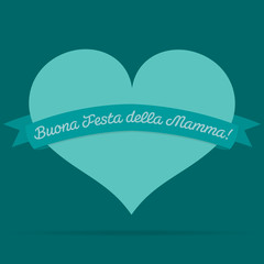 Italian Mother's Day heart with ribbon card in vector format.