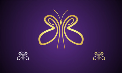 gold butterflies vector image