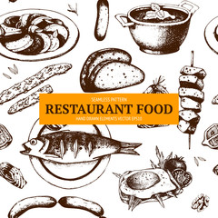 Vector menu template. Vintage food design  with sketched elements. Ink hand drawn food illustration