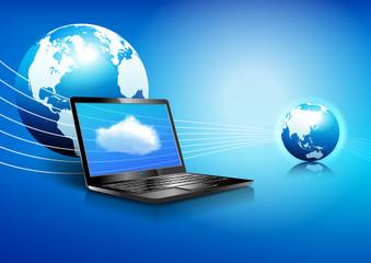 Laptop Cloud Computing Global Digital Communication World Backgr