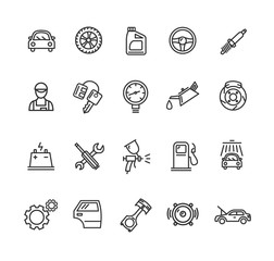 Car Service Outline Icons Set. Vector