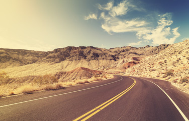 Vintage style USA country highway, travel concept.