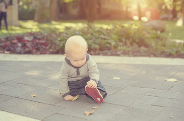 Adorable baby work out in the park