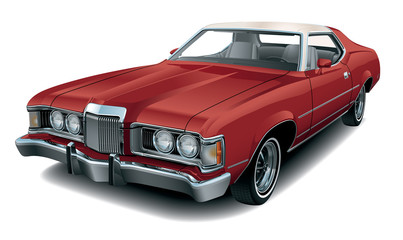 Detailed Vector Drawing of a Seventies Luxury Coupe