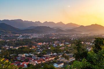 view point sunset in luang prabang, laos.