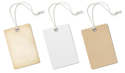 Blank cardboard price tags or labels set isolated