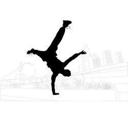 vector illustration of parkour in the city
