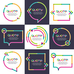 Vector set of quote forms template. Multicolor trendy background