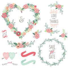 Vintage Heart Shape Wreath Elements
