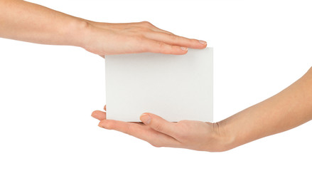 Empty card in humans hands on white