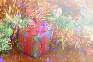 Christmas and Happy new year Gifts box on wood table background