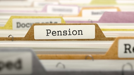 Pension Concept on File Label.