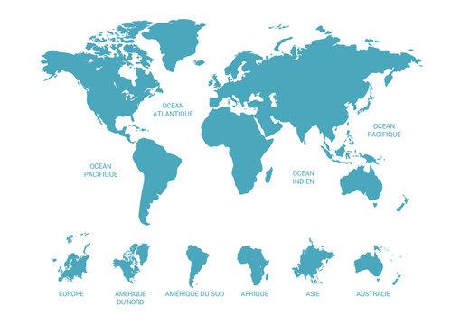 Carte du monde, continent et océans