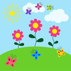 Summer sunny landscape. Beauty card with flowers, butterflies, sun and clouds. Vector illustration.