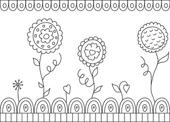 Beautiful vector flowers on white background