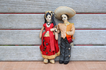Vintage Mexican Couple Cloth Dolls