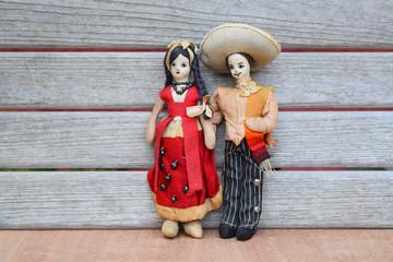Vintage Mexican Couple Cloth Dolls