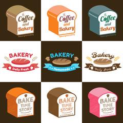 Set of loaf bread bakery badge label sticker design in vector