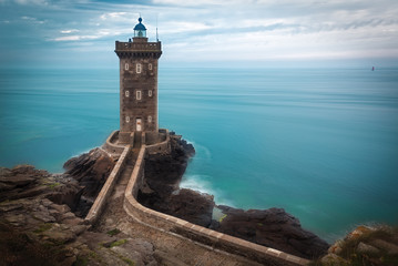 Lighthouse at Atlantic coast, Brittany, France Wall mural