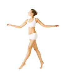 Woman Walking Side View, Sexy Girl in Underwear, People on White