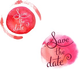 'Save the date' vector lettering on watercolor textures