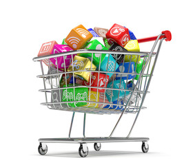 shopping cart with application software icons isolated on a