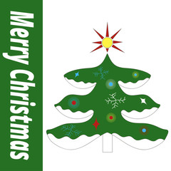 Icon green Christmas tree