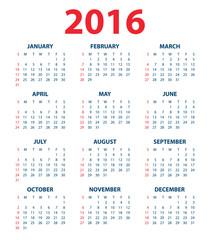 Calendar for the year 2016. Vector illustration.