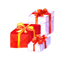 Present boxes with ribbon and bow. Watercolor