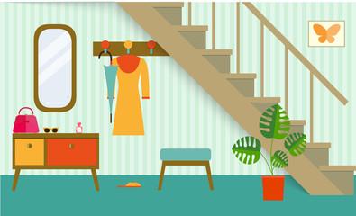 retro interior hallway under stair,vector illustration