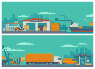 Logistic concept flat banner production process from factory to the shop. Warehouse, ship, truck, car. Wide panoramic vector illustration for business, infographic, web, presentations, advertising.