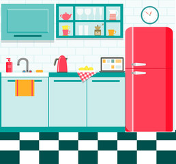 flat retro kitchen with checkered floor. vector illustration