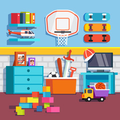 Boys room with toys, skateboards, basketball ring