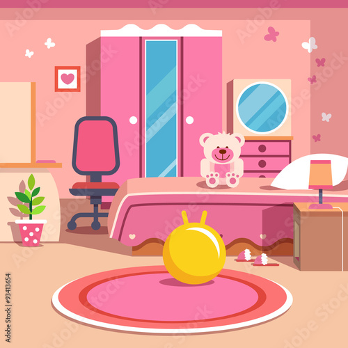 """""""Girls All Pink Bedroom Interior"""" Stock Image And Royalty"""