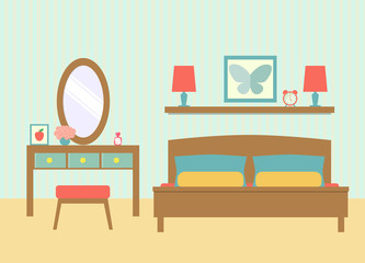 flat bedroom with dressing table.vector illustration