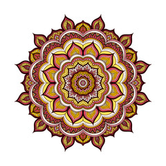 Vector hand drawn doodle mandala. Ethnic mandala with colorful ornament. Isolated. Yellow, orange, pink, red, white and black colors.