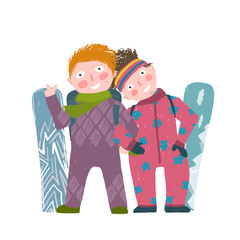 Skiing Sport Child Girl and Boy in Winter Clothes with Snowboard