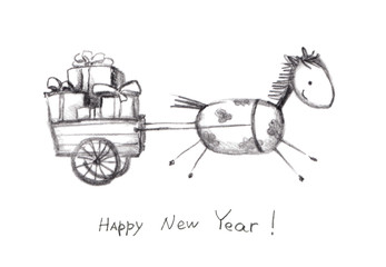 Grunge new year card with horse and presents
