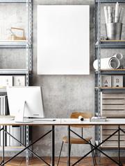 3D illustration of poster frame template, workspace mock up, 3d rendering