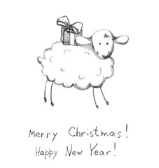 Christmas sheep - pencil painted sketch. New year postcard